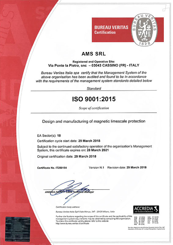 ams PURAK - Quality Certification ISO 9001